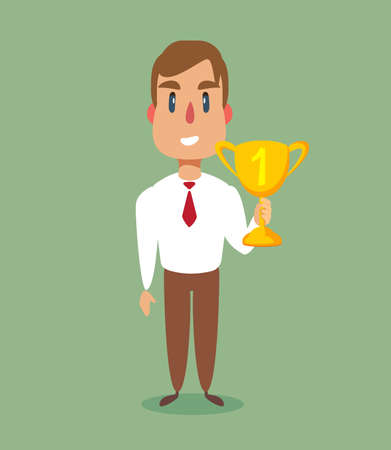 illustration of a happy businessman holding a trophy on podium. flat vector illustration. Ilustração