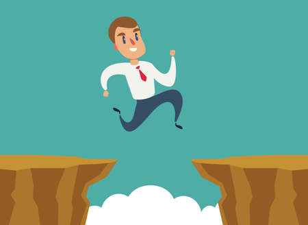 Businessman jump over cliff gap, overcome the difficulty. Business concept Ilustração