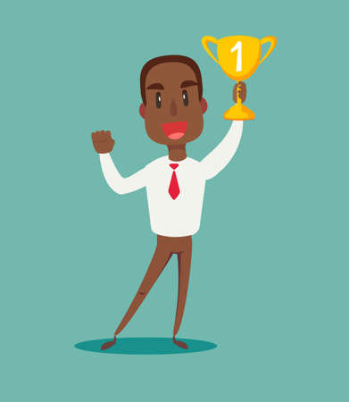 illustration of a happy black african american businessman holding a trophy