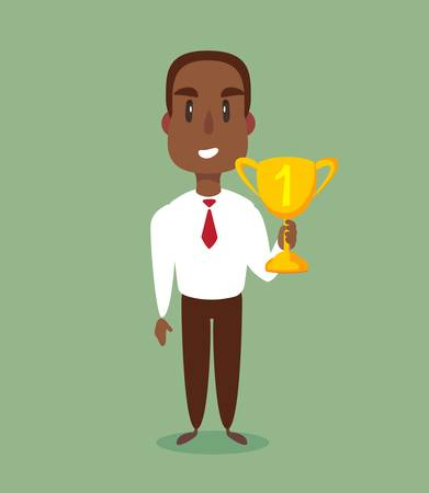 illustration of a happy black african american businessman holding a trophy on podium. Ilustração