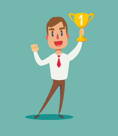 illustration of a happy businessman holding a trophy