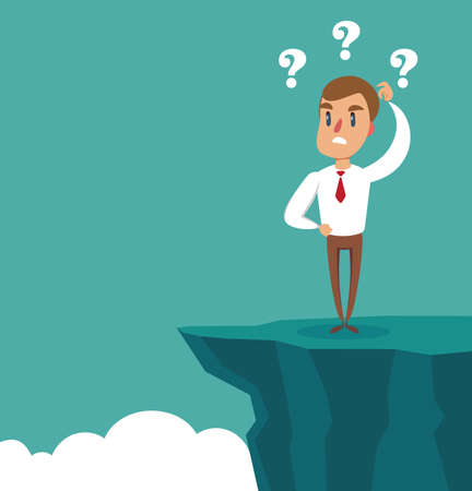 Gap on way to success. Businessman standing in front of abyss. Business challenge concept. Vector illustration flat design. Problem solving. Overcoming obstacles. Illustration