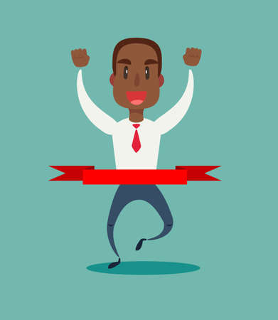 Concept of successful black african american businessman in a finishing line.