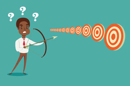 black african american businessman with bow and arrow look at multiple targets. Cannot decide which target to shoot at. Stock flat vector illustration.