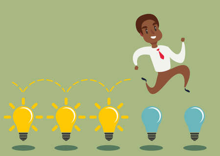 Cartoon character, black african american businessman jump on light bulbs Ilustração