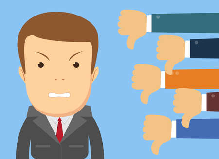 Angry businessman and many hands with thumbs down. Dislikes and negative feedback concept. Creative vector illustration