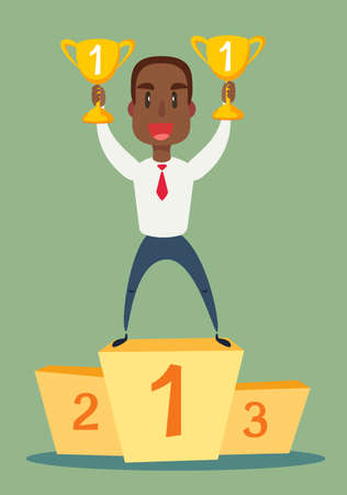 illustration of a happy black african american businessman holding a trophy on podium. Stock flat vector illustration. Illustration