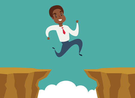 black african american businessman jump over cliff gap, overcome the difficulty. Business concept - Vector