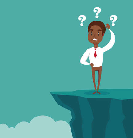 Gap on way to success. black african american businessman standing in front of abyss. Business challenge concept. Vector illustration flat design. Problem solving. Overcoming obstacles. Иллюстрация