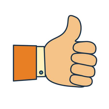 Thumb up symbol, finger up icon vector illustration. like. Standard-Bild - 128510087