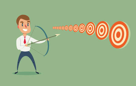 Businessman with bow and arrow look at multiple targets. Ilustração