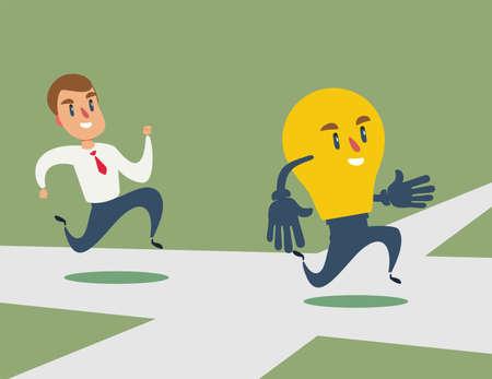 businessman run after idea bulb through the crossroad. Choices Idea and Decision concept. Stock flat vector illustration..