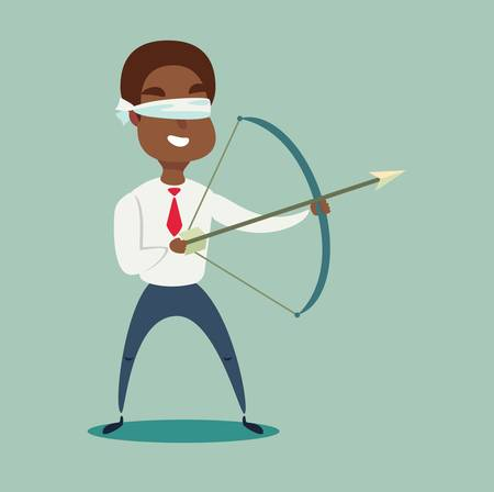 Blindfolded Black african american businessman shooting arrow. Missed the target.