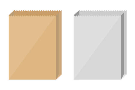 Brown and white paper bags on white background. Illustration
