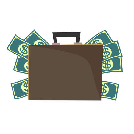 Vector suitcase with money. Ilustração