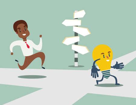 un homme d'affaires afro-américain noir court après une ampoule d'idée à travers le carrefour. Idée de choix et concept de décision. Stock illustration vectorielle..