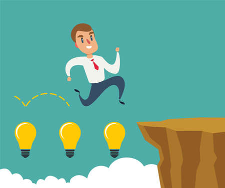 Business man jumping over cliff gap. Concept of business risk and success. Business competition vector illustration Ilustração
