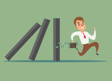 Business concept of a businessman run away from domino effect Vectores