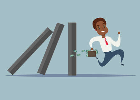 Business concept of a black african american businessman run away from domino effect