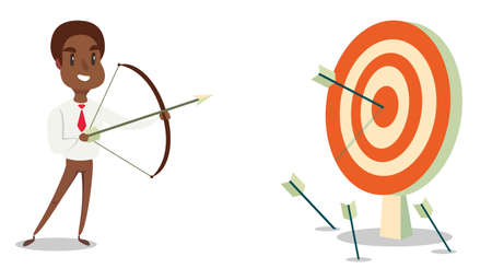 Successful black african american businessman character shoots or aiming at the target. Business concept