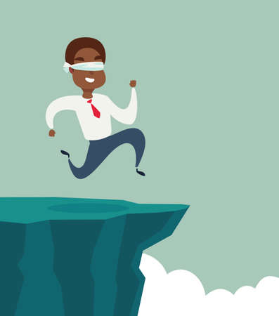 blindfolded black african american businessman run to the cliff. Business concept. Stock flat vector illustration.