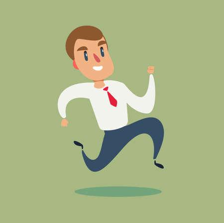 hombre de negocios correr. Ilustración de vector de concepto de negocio. carrera hacia el éxito