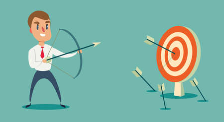 Successful businessman character shoots or aiming at the target. Business concept illustration