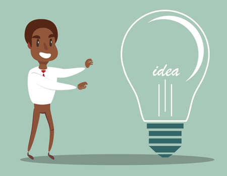 black african american businessman with a large light bulb as a symbol of new ideas. An employee found the idea and touched it . Business concept