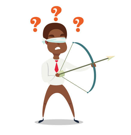 Blindfolded Black african american businessman shooting arrow.