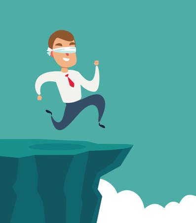 blindfolded businessman run to the cliff. Business concept.
