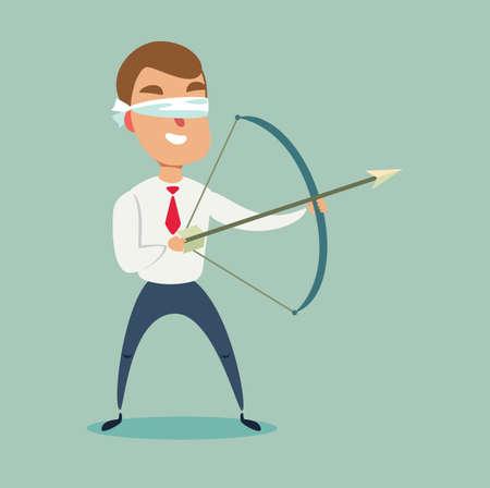Blindfolded businessman shooting arrow. Missed the target. Illustration