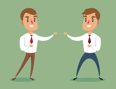 Businessman fighting against another businessman. Business competition concept.