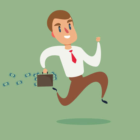 Business character running. Businessman run. Manager holding briefcase with money and run