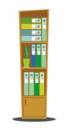 Modern office wooden cabinet with many folders and accounting files with documents. Ilustração