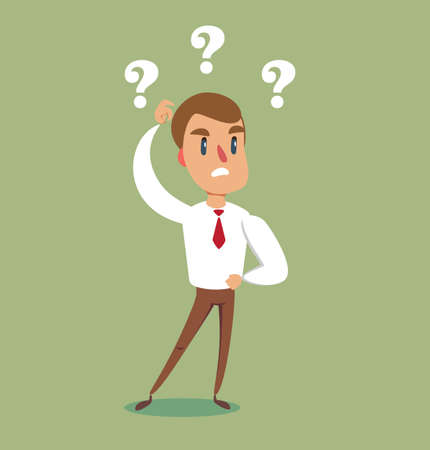 Vector illustration of a clueless cartoon businessman with three question marks above his head.