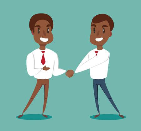 Dos hombres de negocios afroamericanos negros dándose la mano para sellar un acuerdo. Vector.