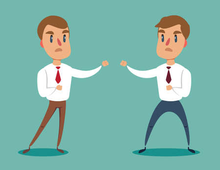 Businessman fighting against another businessman. Business competition concept. Stock flat vector illustration. Ilustração