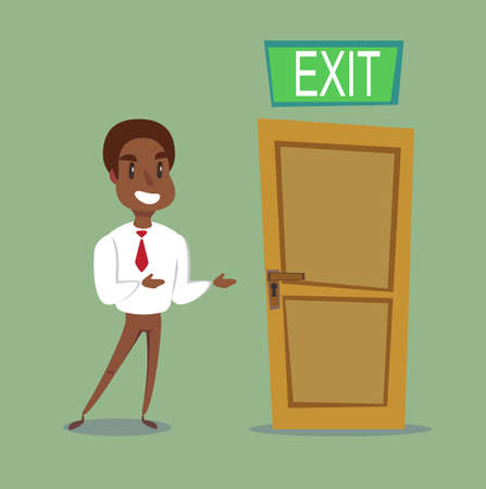 The black african american leader shows the direction. exit out. Vector illustration Çizim