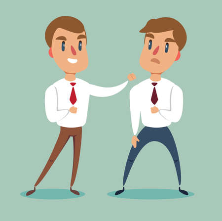 Businessman fighting against another businessman. Business competition concept. Stock flat vector illustration. Stock Illustratie