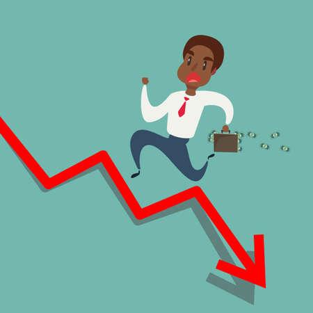 uomo d'affari afroamericano nero corre la freccia rossa. Stock piatto illustrazione vettoriale.
