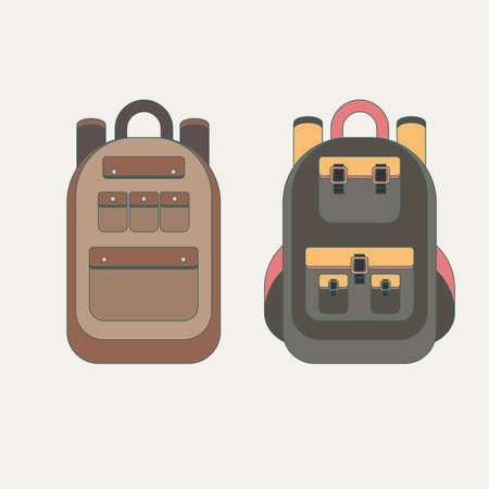 Conjunto de diferentes mochilas. Ilustración de vector