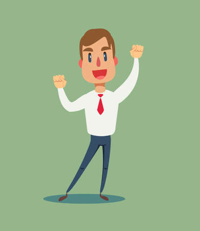 Happy and excited young business man celebrating victory expressing success, power, energy and positive emotions.