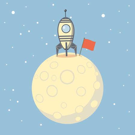Rocket spaceship landed on moon. Success concept.  イラスト・ベクター素材