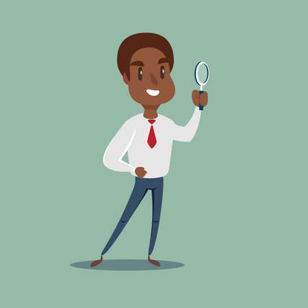 African Manager character looking through a magnifying glass.