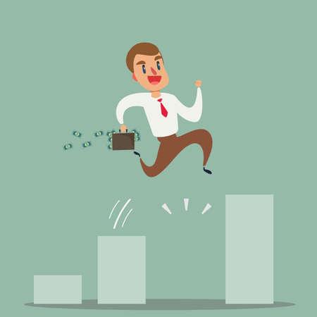 Geschäftswachstumskonzept. Geschäftsmann springen über wachsendes Diagramm. Vektorgrafik