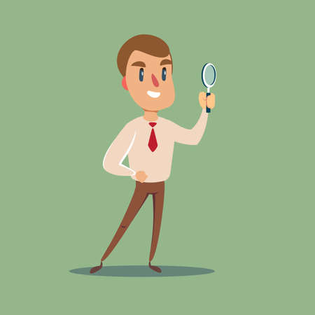 Manager character looking through a magnifying glass. Çizim