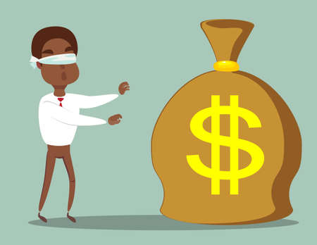 Cartoon blind black african american businessmen is can not find money lying on the ground. Vector illustration on finding easy money and get-rich-quick concept.