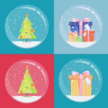 snow globe with christmas decoration inside. Archivio Fotografico - 133680013