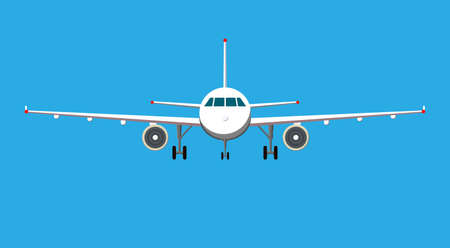 Airplane on blue background. Plane flying in the sky. Front view.