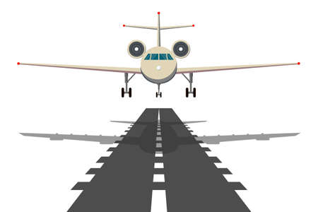 Jet aeroplane on runway. Aircraft takeoff from civil airline to blue sky realistic vector background illustrations. Иллюстрация